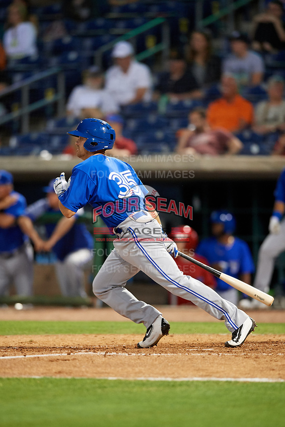 Dunedin Blue Jays designated hitter Nash Knight (35) follows through on a swing during a game against the Clearwater Threshers on April 6, 2018 at Spectrum Field in Clearwater, Florida.  Clearwater defeated Dunedin 8-0.  (Mike Janes/Four Seam Images)