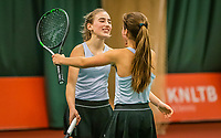 Wateringen, The Netherlands, December 15,  2019, De Rhijenhof , NOJK juniors doubles , Final girls 14  years, the winners Annelin Bakker (NED) and Rose Marie Nijkamp (NED) (R) celebrate matchpoint<br /> Photo: www.tennisimages.com/Henk Koster