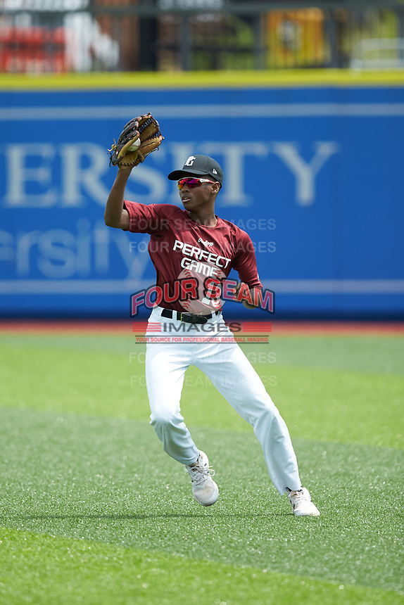 Right fielder Myles Crocker (13) of Reynolds High School in Winston-Salem, NC catches a fly ball during the Atlantic Coast Prospect Showcase hosted by Perfect Game at Truist Point on August 23, 2020 in High Point, NC. (Brian Westerholt/Four Seam Images)