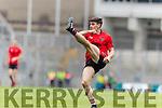 Gavan O'Grady Glenbeigh Glencar in action against  Rock Saint Patricks in the Junior Football All Ireland Final in Croke Park on Sunday.