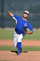 Kansas City Royals pitcher Mariel Checo (56) during an Instructional League game against the Cincinnati Reds on October 14, 2014 at Goodyear Training Facility in Goodyear, Arizona.  (Mike Janes/Four Seam Images)