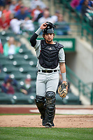 Wisconsin Timber Rattlers catcher Nathan Rodriguez (9) during a game against the Fort Wayne TinCaps on May 10, 2017 at Parkview Field in Fort Wayne, Indiana.  Fort Wayne defeated Wisconsin 3-2.  (Mike Janes/Four Seam Images)