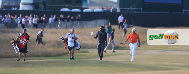 Lee WESTWOOD (ENG) and Tiger WOODS (USA) during round 3 of  The 142th Open Championship Muirfield, Gullane, East Lothian, Scotland 20/7/2013<br /> Picture Fran Caffrey www.golffile.ie: