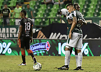 PALMIRA - COLOMBIA, 31-03-2019: Christian Rivera y Juan S Quintero del Cali celebran después del partido por la fecha 12 de la Liga Águila I 2019 entre Deportivo Cali y Cúcuta Deportivo jugado en el estadio Deportivo Cali de la ciudad de Palmira. / Christian Rivera and Juan S Quintero of Cali celebrate after match for the date 12 as part Aguila League I 2019 between Deportivo Cali and Cucuta Deportivo played at Deportivo Cali stadium in Palmira city.  Photo: VizzorImage / Gabriel Aponte / Staff
