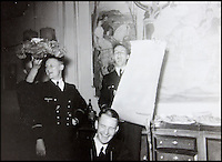 BNPS.co.uk (01202 558833)<br /> Pic: AlexanderHistoricalAuctions/BNPS<br /> <br /> Three merry Germans having a joyous time at a party.<br /> <br /> Fascinating images which provide a snapshot of life on a German U-Boat have been unearthed.<br /> <br /> Interestingly, the photographs give us an insight into joyous occasions on the U-976 destroyer including alcohol fuelled parties and gatherings in the mess hall.<br /> <br /> The photo album which was collated by First Officer Lieutenant Wilhelm Hinrichs has now emerged for auction and is tipped to sell for &pound;1,200.<br /> <br /> The U-976 was sunk on March 25, 1944, just a few months before the Normandy landings, near St Nazaire in France by gunfire from two British Mosquito fighter-bombers.