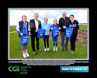 Athenroy Girls with PJ Kavanagh from Bank of Ireland and Justin O'Byrne from CGI.<br /> Junior golfers from across connacht practicing their skills at the regional finals of the Dubai Duty Free Irish Open Skills Challenge supported by Bank of Ireland at Galway Bay golf club, Galway, Co Galway. 2/04/2016.<br /> Picture: Golffile | Fran Caffrey<br /> <br /> <br /> All photo usage must carry mandatory copyright credit (© Golffile | Fran Caffrey)