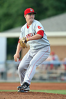 July 10th 2008:  Starting pitcher Brock Huntzinger of the Lowell Spinners, Class-A affiliate of the Boston Red Sox, during a game at Dwyer Stadium in Batavia, NY.  Photo by:  Mike Janes/Four Seam Images
