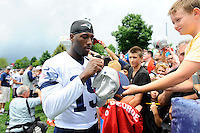July 24, 2014 - Foxborough, Massachusetts, U.S.- New England Patriots wide reciever Brandon LaFell (19) signs an autograph for a young fan during the New England Patriots training camp held at Gillette Stadium in Foxborough Mass.Eric Canha/CSM