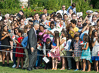 Washington DC, August 2, 2016, USA: Prime Minister Lee Hsien Loong of Singapore,takes a selfie at the White House on the South Lawn beofer the official welcoming ceremony at the White House with President Obama.  Patsy Lynch/MediaPunch