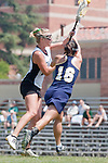 Los Angeles, CA 04/18/10 - Amanda Nespor (Cal Poly #15) and Emily Wong (UC Davis # 16) in action during the 2010 Western Women Lacrosse League Championship game between UC Davis and Cal Poly SLO for third place, hosted by UCLA.  UC Davis edged Cal Poly SLO 8-7 in overtime.