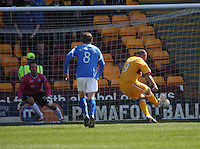 Michael Higdon sends Alan Manus the wrong way to score the opening goal from the penalty spot in the Motherwell v St Johnstone Clydesdale Bank Scottish Premier League match played at Fir Park, Motherwell on 28.4.12.