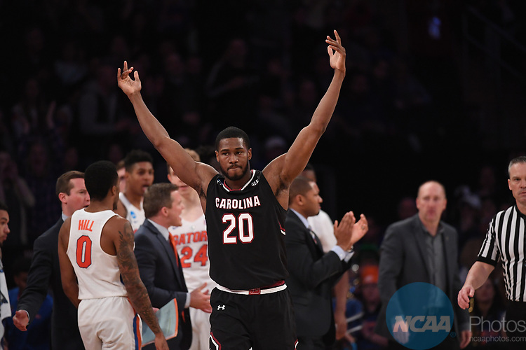 NEW YORK, NY - MARCH 26: Justin McKie #20 of the South Carolina Gamecocks during a game against the Florida Gators during the 2017 NCAA Men's Basketball Tournament held at Madison Square Garden on March 26, 2017 in New York City. (Photo by Justin Tafoya/NCAA Photos via Getty Images)