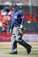 April 15th 2008:  Home plate umpire Shaun Francis during a game at Jerry Uht Park in Erie, PA.  Photo by:  Mike Janes/Four Seam Images