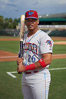 Clearwater Threshers Jhailyn Ortiz (26) poses for a photo before a Florida State League game against the Palm Beach Cardinals on August 10, 2019 at Roger Dean Chevrolet Stadium in Jupiter, Florida.  Clearwater defeated Palm Beach 11-4.  (Mike Janes/Four Seam Images)