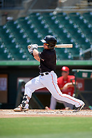 Jupiter Hammerheads center fielder Cameron Baranek (8) follows through on a swing during a game against the Palm Beach Cardinals on August 5, 2018 at Roger Dean Chevrolet Stadium in Jupiter, Florida.  Jupiter defeated Palm Beach 3-0.  (Mike Janes/Four Seam Images)