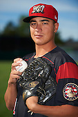 Batavia Muckdogs relief pitcher Ty Provencher (31) poses for a photo before a game against the West Virginia Black Bears on June 30, 2016 at Dwyer Stadium in Batavia, New York.  Batavia defeated West Virginia 4-3.  (Mike Janes/Four Seam Images)