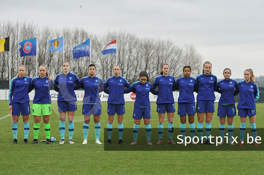 20190206 - TUBIZE , BELGIUM : Dutch team with Dana  Foederer (6)   Lisa Alhmeda (16)   Marit Auee (3)   Samantha van Diemen (4)   Ella Peddemors (7)   Ilham Abali (8)   Lotje de Keijzer (10)   Esmee Brugts (11)   Lobke Loonen (19)   Bodil van den Heuvel (14)   Kim Everaerts (17)   pictured during the friendly female soccer match between Women under 17 teams of  Belgium and The Netherlands , in Tubize , Belgium . Wednesday 6th February 2019 . PHOTO SPORTPIX.BE DIRK VUYLSTEKE