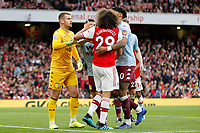 Mattéo Guendouzi of Arsenal remonstrates with Thomas Heaton of Aston Villa during the Premier League match between Arsenal and Aston Villa at the Emirates Stadium, London, England on 22 September 2019. Photo by Carlton Myrie / PRiME Media Images.