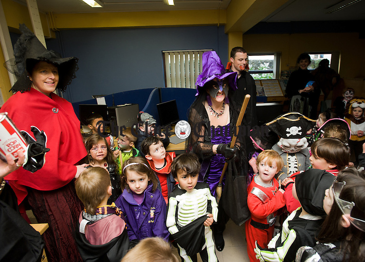 Ennis National School children enjoying their visit to The Clare Champion Offices on Barrack street, as part of their annual Halloween Hobble. Photograph by John Kelly.