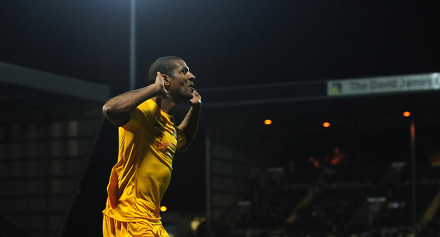 Preston North End's Jermaine Beckford celebrates scoring his sides third goal <br /> <br /> Photographer Chris Vaughan/CameraSport<br /> <br /> Football - The Football League Sky Bet League One - Notts County v Preston North End - Tuesday 21st April 2015 - Meadow Lane - Nottingham<br /> <br /> &copy; CameraSport - 43 Linden Ave. Countesthorpe. Leicester. England. LE8 5PG - Tel: +44 (0) 116 277 4147 - admin@camerasport.com - www.camerasport.com