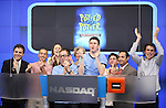 Jefferson Turner & Daniel Clarkson with friends from the Off-Broadway Smash Hit 'Potted Potter' ring the closing bell at NASDAQ in Times Square, New York City on 7/5/2012
