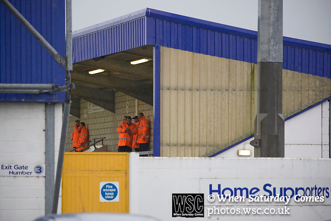Chester City 1 Altrincham 3, 21/11/2009. Deva Stadium, Football Conference. Stewards gathering inside the Deva Stadium, Chester, home of Chester City Football Club, before kick-off in the club's Blue Square Premier fixture against Cheshire rivals Altrincham. The visitors won by three goals to one. Chester were in administration at the start of the season and were penalised 25 points before the season began. Photo by Colin McPherson.