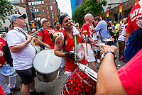 New York, NY- Gay Pride Parade in the West VIllage - Manhattan Samba marching up Greenwich Street in the Far West Village