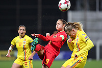 20191008 CLUJ NAPOCA: Belgium's Tessa Wullaert (9) is pictured battling for the ball with Romania's Florentina Olar (11) and Romania's Olivia Oprea (2)  at the match between Belgium Women's National Team and Romania Women's National Team as part of EURO 2021 Qualifiers on 8th of October 2019 at CFR Stadium, Cluj Napoca, Romania. PHOTO SPORTPIX | SEVIL OKTEM
