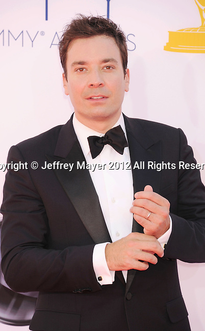 LOS ANGELES, CA - SEPTEMBER 23: Jimmy Fallon arrives at the 64th Primetime Emmy Awards at Nokia Theatre L.A. Live on September 23, 2012 in Los Angeles, California.