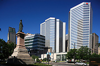 Montreal (Qc) Canada - June 23 2009 -  Victoria Square statue of Queen Victoria<br /> facing banque Nationale headquarter