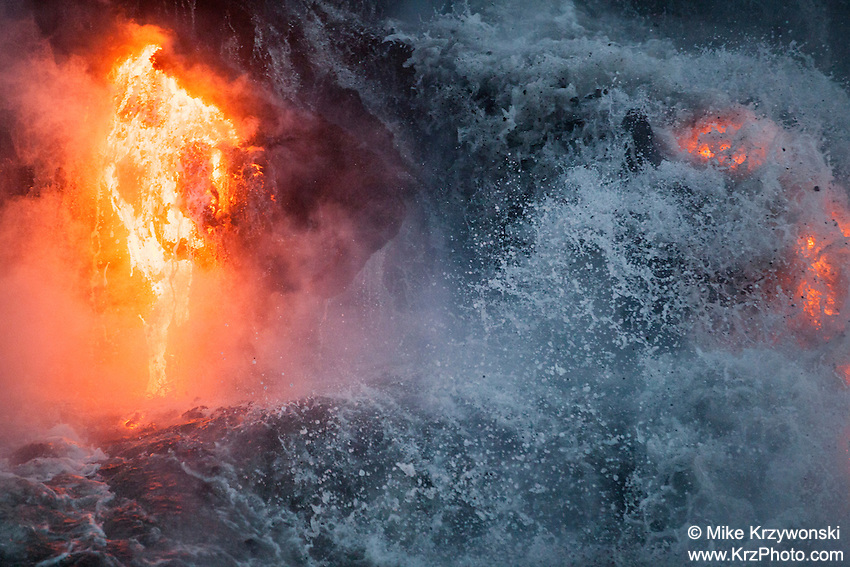 Lava flowing into the ocean in Kalapana, Big Island