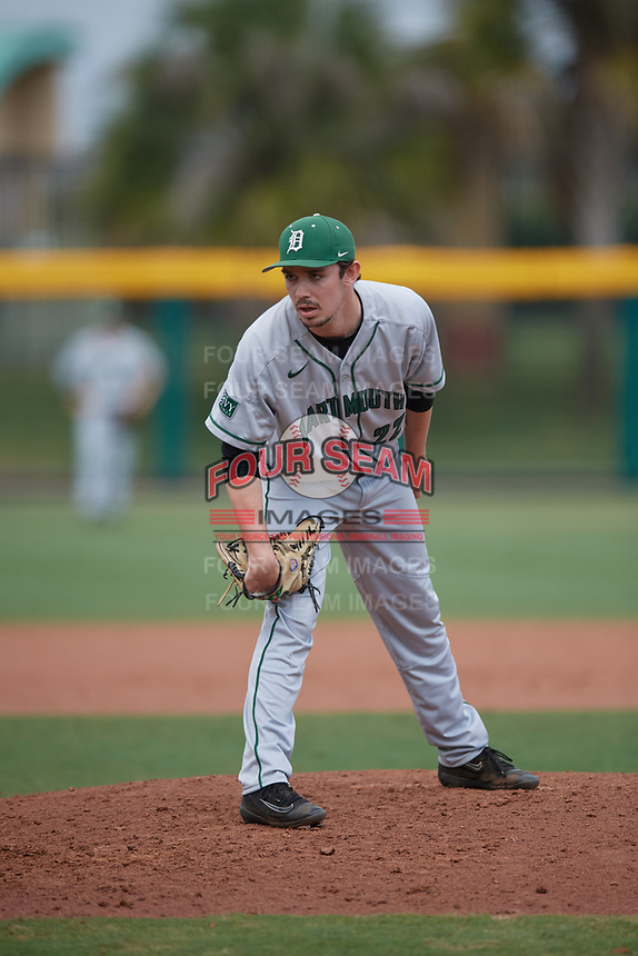 Dartmouth Big Green relief pitcher Michael Parsons (22) looks in for the sign during a game against the USF Bulls on March 17, 2019 at USF Baseball Stadium in Tampa, Florida.  USF defeated Dartmouth 4-1.  (Mike Janes/Four Seam Images)