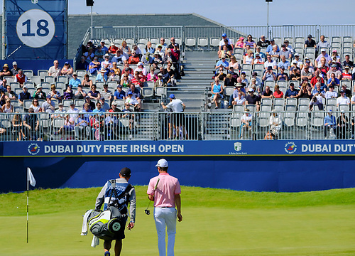 July 8th 2017, Portstewart Golf Club, Portstewart, Northern Ireland; Dubai Duty Free Irish Open Golf Championship, Day 3; The grandstand greets Justin Rose (ENG) as he makes his way towards the 18th green during the third round of the Dubai Duty Free Irish Open; Rose sitting on -13 at end of 3rd round