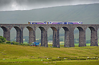 Train crossing the Ribblehead Viaduct and tractor with silage trailer, Ribblehead, North Yorkshire.