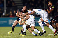 Sam Hill of Exeter Chiefs is tackled. Aviva Premiership match, between Saracens and Exeter Chiefs on November 26, 2017 at Allianz Park in London, England. Photo by: Patrick Khachfe / JMP