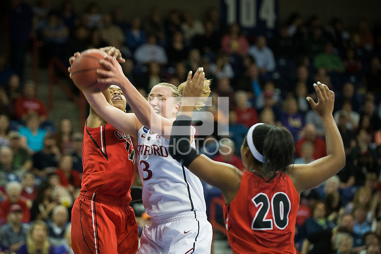SPOKANE, WA - MARCH 30, 2013: Mikaela Ruef grabs a rebound during the third round NCAA Championships game matching Stanford vs Georgia at the Spokane Arena. The Cardinal fell to the Bulldogs 61-59.