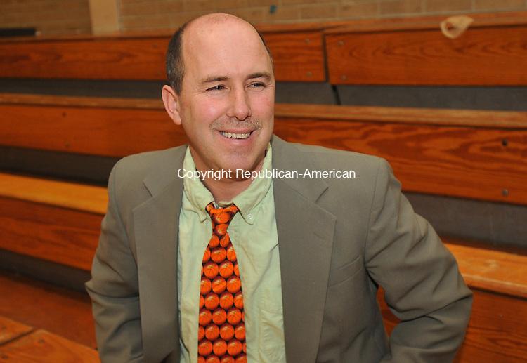TORRINGTON, CT-11 FEBRUARY 2009-021110IP01-Brian Hurlock is the first year coach of Wolcott Tech girls basketball team in Torrington.<br /> Irena Pastorello Republican-American