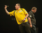 09.04.2015. Sheffield, England. Betway Premier League Darts. Matchday 10.  Dave Chisnall [ENG] in action during his game with James Wade [ENG]