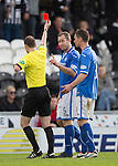 St Mirren v St Johnstone...19.10.13      SPFL<br /> Frazer Wright is sent off by Ref Willie Collum<br /> Picture by Graeme Hart.<br /> Copyright Perthshire Picture Agency<br /> Tel: 01738 623350  Mobile: 07990 594431