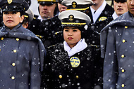 PHILADELPHIA, PA - DEC 9, 2017: A Navy Midshipmen cadet looks on before the game between Army and Navy at Lincoln Financial Field Philadelphia, PA. Army defeated Navy 14-13 to win the Commander in Chief Cup. (Photo by Phil Peters/Media Images International)