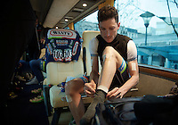 Gaetan Bille (BEL/Wanty-Groupe Gobert) getting ready for an icy race inside the WGG teambus at the start<br /> <br /> 102nd Li&egrave;ge-Bastogne-Li&egrave;ge 2016