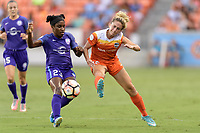Houston, TX - Saturday June 17, 2017: Camille Levin attempts to block a shot by Jasmyne Spencer during a regular season National Women's Soccer League (NWSL) match between the Houston Dash and the Orlando Pride at BBVA Compass Stadium.
