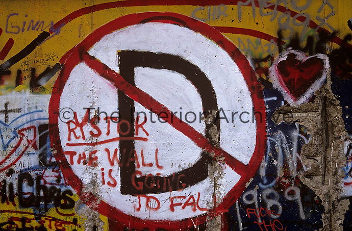 'The wall is going to fall' - graffiti, Berlin Wall west zone.10 November 1989