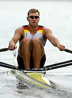 Poznan, POLAND.  2006, FISA, Rowing, World Cup, GER M1X Marcel HACKER, moves  away from  the  start, on the Malta  Lake. Regatta Course, Poznan, Thurs. 15.05.2006. © Peter Spurrier   .[Mandatory Credit Peter Spurrier/ Intersport Images] Rowing Course:Malta Rowing Course, Poznan, POLAND