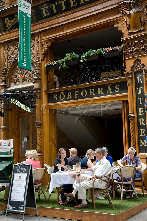 A restaurant in the pedestrian area, Vaci Street, Budapest, Hungary, Europe