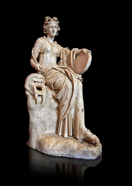 2nd century AD Roman statue of the muse of comedy, Thalia, with a tympanum and a comic mask. A Roman copy of a 4th century BCHellenistic statue, inv 295, Vatican Museum Rome, Italy,  black background