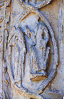 Medieval sculptures of the south porch of the 12the century early transitional Norman architecture of the parish church of St Peter & St Paul part of Malmesbury Abbey, Wiltshire, England