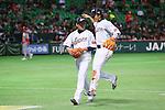 (L to R) .Hideaki Wakui (JPN), .Hayato Sakamoto (JPN), .MARCH 3, 2013 - WBC : .2013 World Baseball Classic .1st Round Pool A .between Japan 5-2 China .at Yafuoku Dome, Fukuoka, Japan. .(Photo by YUTAKA/AFLO SPORT)