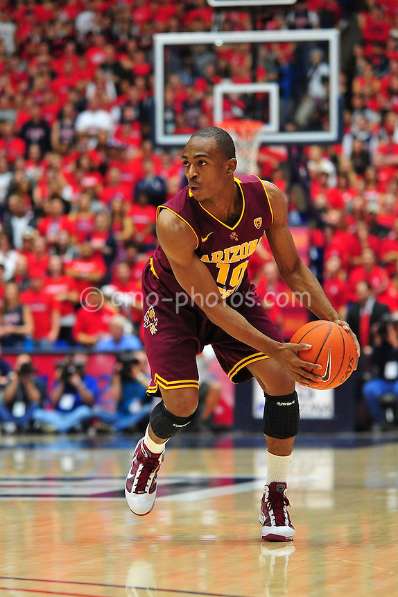Jan 15, 2011; Tucson, AZ, USA; Arizona State Sun Devils guard Jamelle McMillan (10) looks to pass the ball in the 1st half of a game against the Arizona Wildcats at the McKale Center.  The Wildcats won the game 80-69.
