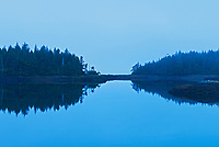 Kaien Island in Morse Basin in fog at dawn. , Prince Rupert, British Columbia, Canada